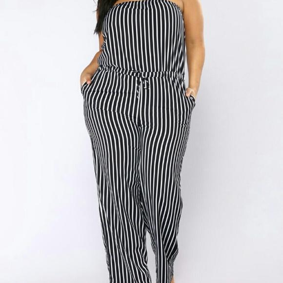 Fashion Nova Pants Navy White Striped Jumpsuit Romper Poshmark